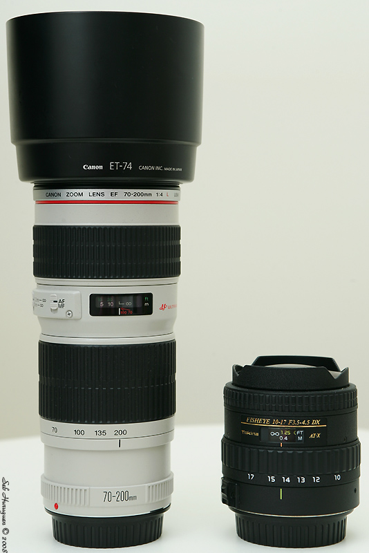 canon ef 70-200mm f4 L USM tokina 10-17mm fisheye